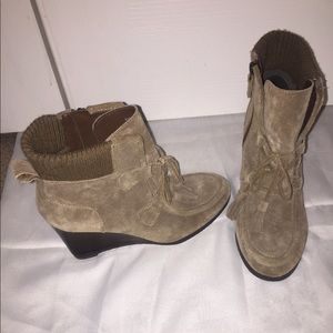 Franco Sarto Suede Wedge Ankle Boot